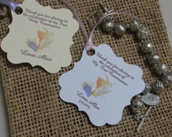 Personalized Favor Tags 2x2'', First Communion tags, Thank You tags, Favor tags, Gift tags, first holy communion