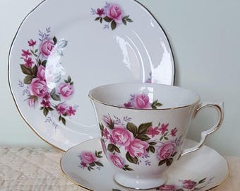 Queen Anne Pink Roses trio - cup, saucer and side plate. Vintage from 1960-70's
