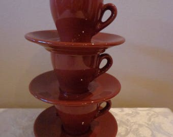 Chocolate Brown Italian Espresso Cappuccino Cups and Saucers Set for 3, Brown Demitasse Service for 3, from Italy, 3 Brown Italian Tea Set
