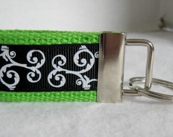 Scroll Mini Key Fob - LIME Green - Handmade Key Ring - Small Keychain - Swirls Mini Key Chain - Scroll Zipper Pull