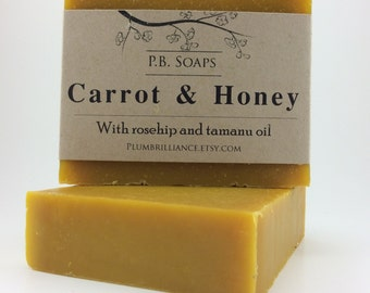 Carrot and Honey Soap - soothing, nourishing ingredients, loaded with carrots, cold process, facial soap, artisan soap, rosehip and tamanu