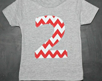 READY TO SHIP Red Chevron Birthday Number Shirt - Custom Age 1, 2, 3, 4, 5, 6, 7, 8, one two three four five six first second