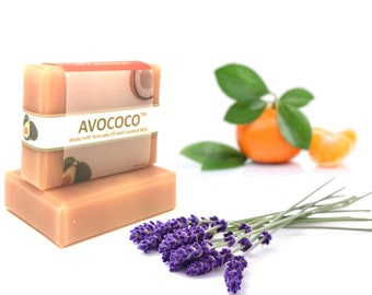 Lavender Orange & Patchouli Soap, Vegan Avocado Coconut Soap, Natural Soap, Vegan Gift, Handmade Soap, Coconut Milk, Lavender, Essential Oil
