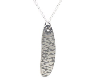 Sterling Silver Pendant Cubic zirconia textured feather uBbZ08sq