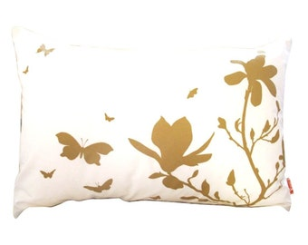Mustard Print on Off White Cotton Magnolia and Butterfies Rectangle Pillow