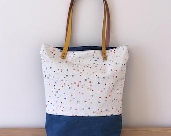 Handmade 'Porthmeor' bag – paint print with mustard yellow leather straps