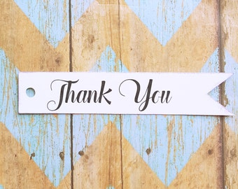 Thank You Hang Tag, Pennant Tag, Flag, Rustic, Wedding, Bridal Shower, Baby Shower, Distressed, Favor Label, Business, Branding (005)