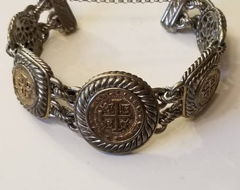 Coin Bracelet, Coin Symbols, Gold Coins, Silver and Gold Bracelet, Connector Links, Magnetic Clasp, Well Made, Unique Design, Ornate Pattern