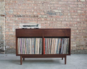 Mid Century Inspired Hand Crafted Record Cabinet // Vinyl Storage and Setup // Credenza Console //  - Walnut - Holds 200+ records