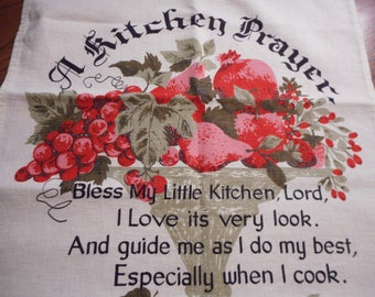 Vintage Kitchen Prayer Towel - Linen, Collectable - NOS
