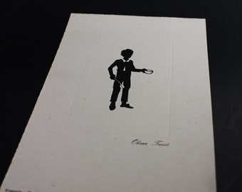 Charles Dickens Silhouette Art Print ~ Oliver Twist ~ Old Curiosity Shop, London ~ Ephemera Black Ivory  Study/Office/Boys Room/Library