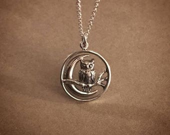 Owl and the Moon Necklace - Sterling Silver
