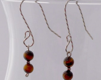 Tigereye Earrings with 4mm Beads in Sterling Silver WILL match Pendants