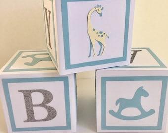 Baby Boy baby shower decorations, baby shower centerpieces, alphabet blocks