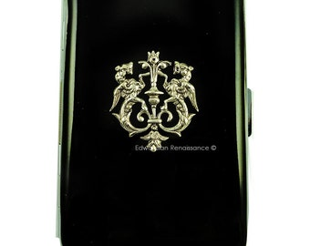 Dragon Crest Metal Cigarette Case Inlaid in Hand Painted Glossy Black Onyx Enamel Metal Wallet with Personalized and Custom Colors Options