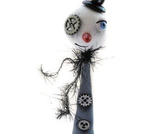 Steampunk Art - Steampunk Snowman - Steampunk Christmas - Made to order