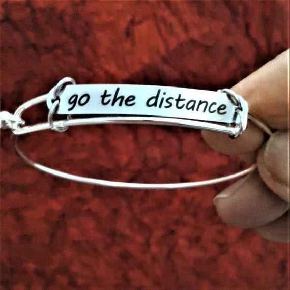 Go the Distance Wire Bangle Bracelet, Gift for Runners Athletes Coach, Running Marathon Triathlon Jewelry, Inspirational Word Charm Bracelet