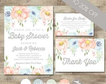 Baby shower packages t3 designs co gender neutral baby shower package floral watercolor baby shower invitation boy or girl baby filmwisefo