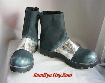 Strange SPACE AGE Ankle Boots/ Size Eu 42 MOD Fleece Lined Shoes / Suede Leather Black Metallic Silver /Womans sz 10   Men 8 .5