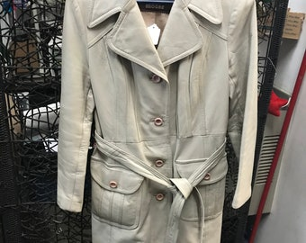 Vintage 1970s 24k Leather Trench coat