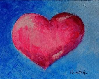 Gift for Her, Pink Heart, Original Painting, Blue, Gift for Mom, Under 25, Bridesmaid Gift, Valentine Gift, Kitchen Art, Girlfriend Birthday