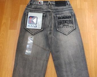 New KARL KANI jeans, oldschool deadstock baggy loose vintage blue, 1990s hip-hop, 90s hip hop clothing, gangsta rap, og, size W 30 W 34 NWT