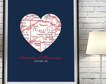 University of Mississippi - Ole Miss Rebels - Oxford Mississippi - Vintage Heart Map ART PRINT, Christmas gift for her man cave, fathers day