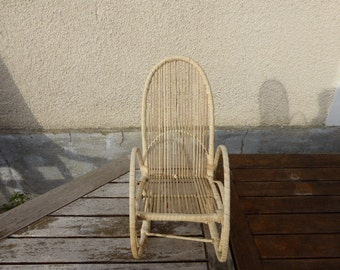 Rocking chair, straw and raffia for dolls, vintage 1970,