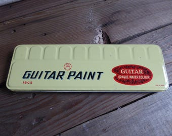 The Japanese Vintage GUITAR PAINT - Tin box opaque water colour 18 ps. 60,s