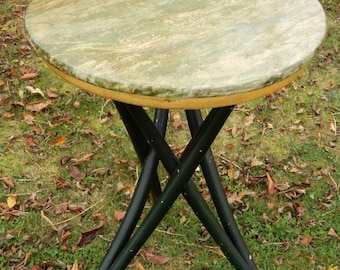 19th Century Green and gold faux marble top table with hoven feet on bentwood legs