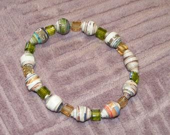 Green paper bead bracelet; paper beads jewelry