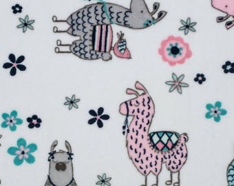 Blush No Prob Llama Cuddle Print Minky Fabric, from Shannon Fabrics Inc. Cuddle Prints Collection, #NOPROBLLAMABL-One Yard Cut