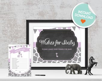Giraffe Wishes for Baby, Giraffe Baby Wishes, Purple, Gray, Flags, Spots, Chalkboard | Instant Download