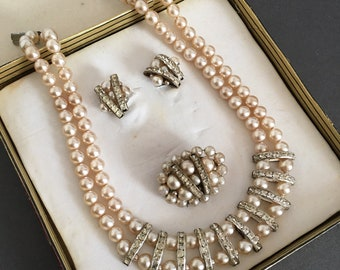 Vintage Faux Pearl Necklace Set  Multi Strand Made In England With Matching Earrings & Brooch Pin