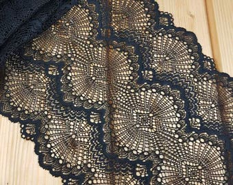 Black Stretch lace by the meter
