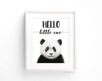 Baby Panda Nursery Art Print Baby Animal Hello Little One Panda Watercolor Baby Animal Nursery Decor Jungle Safari Animal Wall Art