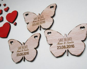 Wedding Butterflys Save the Date Set of 10 / Gift Wedding Magnets / Engraved Wooden Wedding Decoration/ Personalised Rustic Wedding Favor