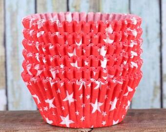Red Star Cupcake Liners, Patriotic Cupcake Liners, 4th of July Cupcake Liners, Americana Cupcake Liners, USA Cupcake Liners (50)