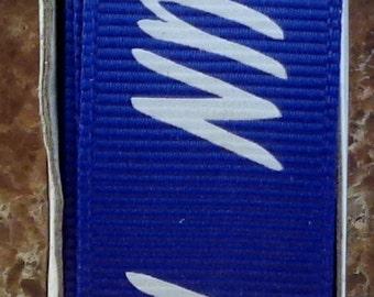 "2 Yards 7/8"" Royal Blue with White ""RUN"" Print Grosgrain Ribbon - Marathon - Track - School - US Designer"