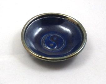 Raku Yin Yang Offering Bowl  Handmade Pottery royal Blue