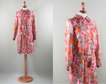 Vintage dress floral / 60s / vibrant color printed dress / floral style / short dress / swingin'london style /pink orange blue