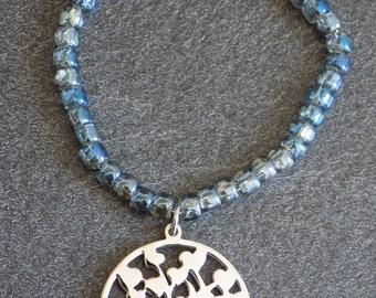 Tree of life and iridescent Beads Bracelet