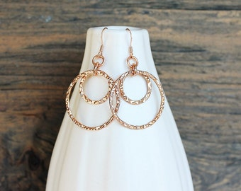 Rose gold earrings, hammered rose gold, handmade rose gold, rose gold jewelry