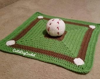 Crochet Baseball Lovey Blanket