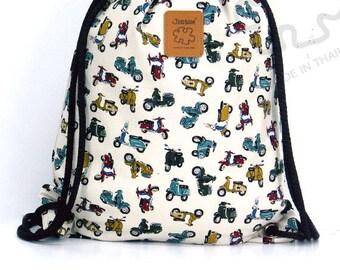 Vespa print drawstring bag  Canvas Cotton Backpack Book bag Gym bag Handmade bag