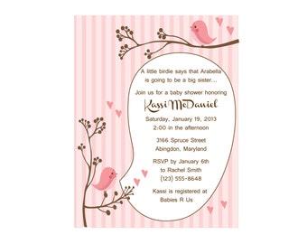 Pink Bird baby shower invitation, A little birdie told me (set of 10)
