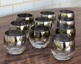 Set of 10 silver ombré roly poly glasses - vintage glass barware - Vitreon Queen's Lustreware - Mercury Fade - 1960s barware