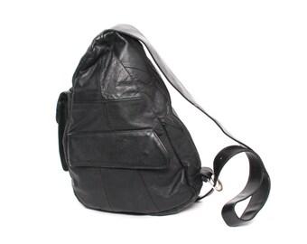 GRUNGE black leather 80s 90s TRIANGLE KNAPSACK mini hobo backpack purse bag