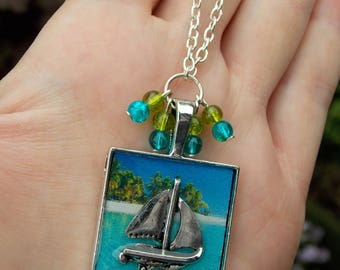 Sailing Boat Necklace, Nautical Necklace, Seashore Necklace, Dreaming Of The Sea, Sail Boat Necklace, Seaside, Nautical Jewellery, Beach,