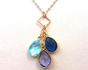 Mothers Day Birthstone Necklace, Birthstone Necklace, Mom Necklace, Mom Jewelry, Family Tree Necklace, Mom Jewelry, Cascading Necklace
